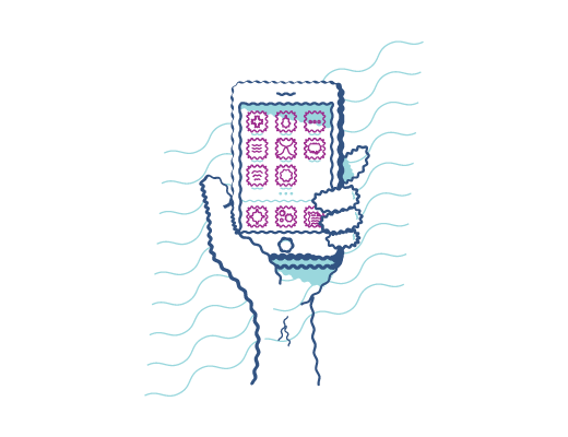Mirar un teléfono con visión distorsionada cuando padece astigmatismo