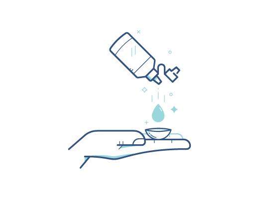 Desinfecte el lente de contacto con la solución de lentes de contacto