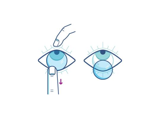 Retire sus lentes de contacto usando su dedo índice en el borde inferior del lente