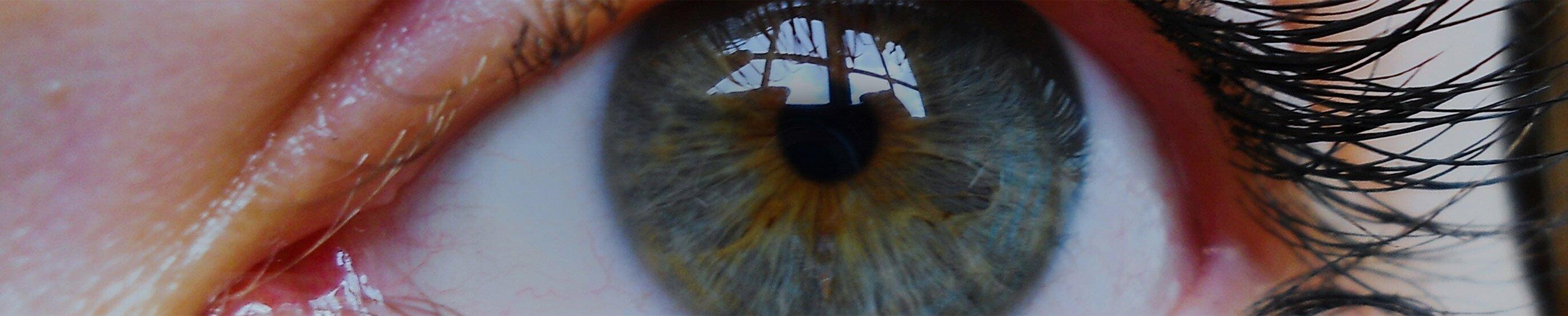 Acercamiento de los ojos azules de una mujer